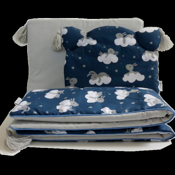 zestaw do gondoli śpiące zającki szara bawełna plus szare chwosty i wypustka