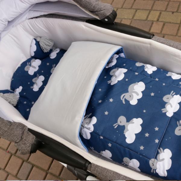 zestaw do gondoli śpiące zającki szara bawełna plus szare chwosty i wypustka w wózku
