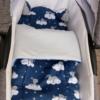 zestaw do gondoli śpiące zającki szara bawełna plus szare chwosty i wypustka w wózku1